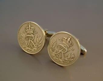 Like Royalty - Vintage 1948 Silver Crown Letter R Danish Denmark Coins Steampunk Cufflinks, Man Gift, Groomsman Gift, Birthday Gift
