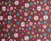 Owls Fabric ON SALE Owl Cotton Quilting Weight Multi Colors Birds Flowers Hearts