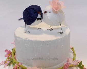 Wedding cake topper, birds in navy and white with blush pink