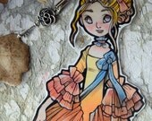 Bookmarks -  Laminated - Charm - Paper Goods - Handmade- Paper Craft  - Baroque Fashion - Spring Hues - Anime Style - 18th century - France