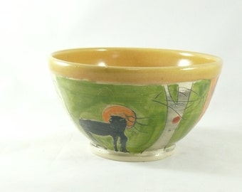 Pottery Bowl with black horse Ceramic Bowl for Cereal, Soup or Salad - Artistic Decorative Kitchen Bowl - Salad Dish - Small Art Bowl  641