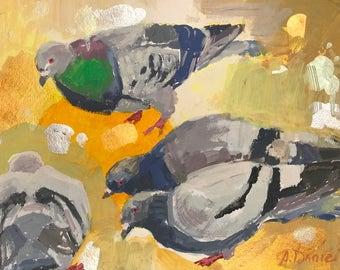 Pigeons on Yellow #2