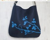 BLACK FRIDAY SALE Navy Blue Tote Handbag - Shoulder Messenger Bag for Women - Bird on Tree Screen Printed Hemp Bag - Crossbody Bag - Fabric