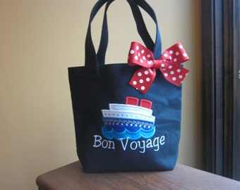 TOTE BAG Cruise Ship Bon Voyage Custom Designed and Personalized Toddler or Big Kid Tote