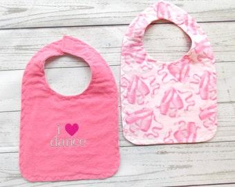 I Love Dance Baby Bib - Ballet Baby Bib - Dance Baby Bib - Ballet Teacher Baby Gift - Dance Teacher Baby Gift - Pink Ballet Slipper Baby Bib
