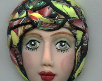 Polymer Clay One of a Kind   Detailed  Art Doll Face with hat Cab  FH 6