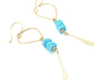 Gwen Earrings- turquoise, gold fill.
