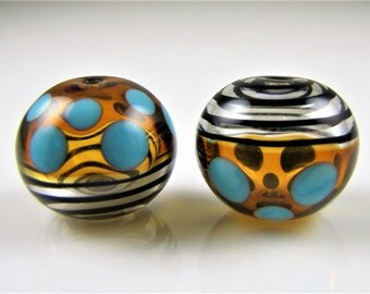 Topaz and Turquoise Spots Hollow Lampwork Glass Bead Pairs