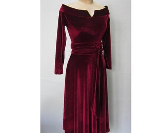 New Bohemian Velvet Off the Shoulder Solid Wine Colored  Midi Dress with XLong Fitted Sleeves