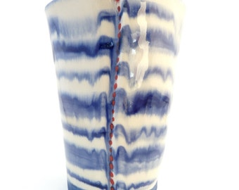 Handbuilt White, White and Blue Striped Ceramic Tumbler, Drinkware, Barware, Red Dots, Slab Built, OOAK Cup, Striped Cup, Drippy Glaze
