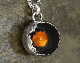 Amber Necklace - Small Sterling Silver Amber Pendant on Chain - Botanical Pod Pendant