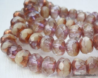 Czech Glass Bead 10 Opaque Ivory Crystal Bronze Picasso 9mm Rondelle