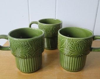 vintage green stackable mugs Japan