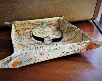 Travel Tray Valet for Jewelry Accessories World Map Design Cotton Fabric Ready To Ship