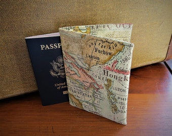 Passport Holder Credit Card Case Travel  World Map Design Cotton Fabric Ready To Ship