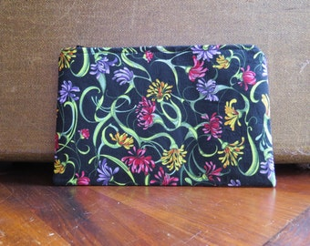 Zippered Cosmetic Makeup Bag Cotton Cloth Black with Flowers