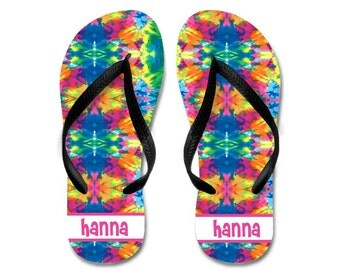 Personalized Tie Dye Flip Flops | Girls Name Flip Flops | Girls Summer Birthday Gift | Personalized Tie Dye Thongs | Personalized Sandals