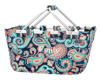 Paisley Market Tote | Monogrammed Personalized Market Basket | Collapsible Market Basket | College Dorm Caddy | Monogrammed Picnic Basket