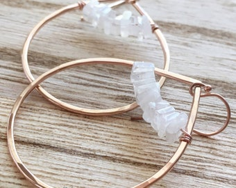 Rose Gold Moonstone Teardrops