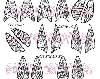 Etching 4 different Fishnet Floral style Earrings Download DP-FN-2