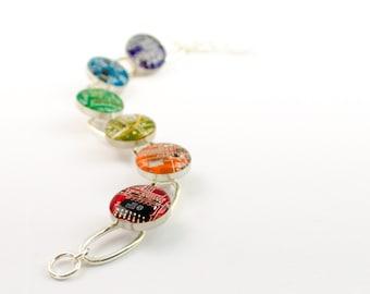 Circuit Board Link Rainbow Bracelet, Geeky Bracelet, Computer Jewelry, Techie Jewelry, Wearable Technology, Engineer Gift, Chakra Bracelet