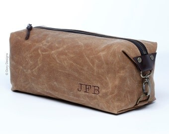 Personalized Men's Dopp Kit, Toiletry Bag, Gift for Men, Travel Bag for Men with Inside Pocket - Water Resistant Lining, Waxed Canvas