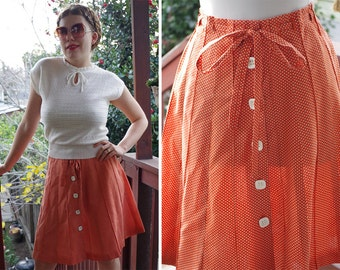 """SWISS Dots 1970's Vintage Pumpkin Orange + White Dotted Cotton Poly Button Front Skirt // size Small Medium W28"""""""