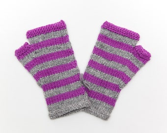 Striped Purple and Grey Fingerless Mitts, Hand Knitted Wool Fingerless Gloves, Knitwear, Fall and Winter Fashion