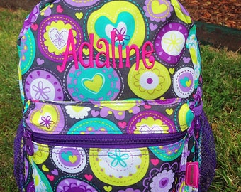 Personalized Toddler Backpack - Purple Flowers Backpack - Daycare Backpack - Nursery Backpack - Toddler Diaper Bag Girl Backpack Embroidery