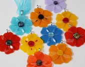 Poppy ornament, fused glass ornaments your choice of colors, flower ornament