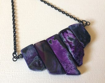 Purple Agate Necklace on Matte Black Cable Chain