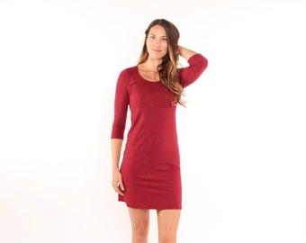 SALE Organic Everyday Dress in Ruby Sizes Small and Medium Ready to Ship
