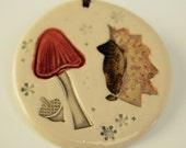 Hedgehog and Deep Red Mushroom Troop Holiday Ornament
