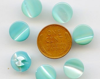 """Shell Buttons TURQUOISE Aqua Set of (10) 1940s Vintage Buttons 7/16"""" inch size Dyed MOP Mother of Pearl 3296T MORE available"""