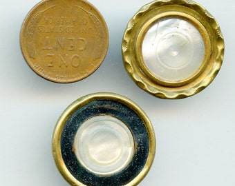 """Pair of Victorian metal buttons with carved shell centers 7/8"""" MOP Mother of Pearl 3263"""