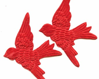 Pair Fire Engine RED Velvet BIRDS  Millinery  Pressed Pieces Large  Embossed from Antique Molds True MORE AVAlLABLE