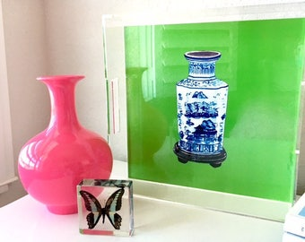 CHINESE JAR on GREEN & White  (2 images -reversible!) 12X12 Acrylic Tray