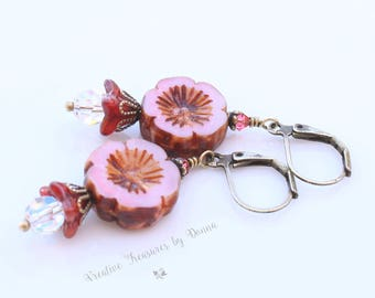 Brass Earrings Swarovski Crystals Czech Glass Pink Red Flowers Hawaiian Flower Earrings Boho Style