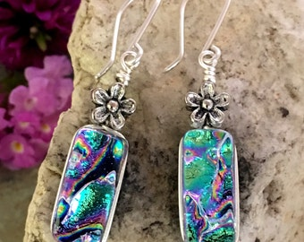 Pretty Rainbow Dichroic Glass Earrings .. Wire Wrapped Sterling Silver Hooks