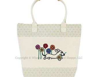 Dachshund Daisies Embroidered Tote Bag