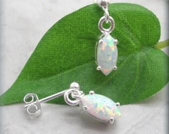 White Opal Earrings, Marquise Earrings, Opal Jewelry, Sterling Silver, October Birthstone Earrings, Dangle, Drop, Easter Gift (SE522)