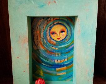 Sun Girl / Mixed Media Shadow Box Painting