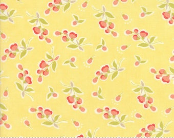 1 fat quarter - Coney Island - Posies in Buttercup Yellow: sku 20282-14 cotton quilting fabric by Fig Tree and Co. for Moda Fabrics