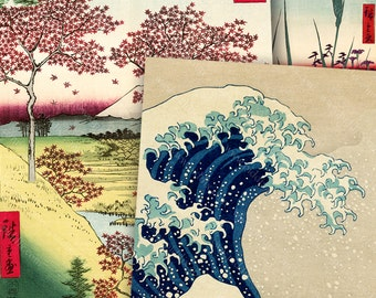 Vintage Japanese Woodblock Collage Sheet, Card Size, The Great Wave, Cherry Blossoms, Nature 2.5 x 3.5 inch Rectangles -- piddix no. 1131