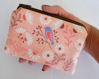 Birds Zipper Pouch Little Coin Purse ECO Friendly Padded NEW Blue bird on Peach