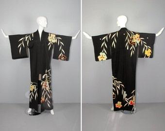 1940s / silk kimono / dressing gown / floral / HIBISCUS vintage kimono