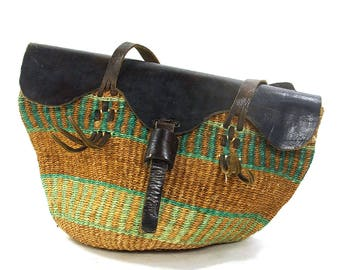 Woven Sisal Bucket Bag with Leather Shoulder Straps / Vintage 1980s Raffia Basket Purse / Bohemian Market Tote