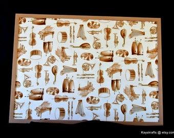Music Corkboard, Cork Bulletin Board, Musical Instrument Cork Board, 17x23 Tack Board, Cork Pin Board, Brown White Cork Board