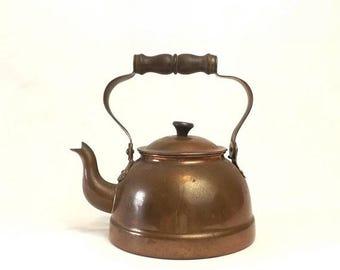 Copper Teapot Kettle, Vintage Wooden Handled Teapot, Primitive Farmhouse Kitchen Decor, Made in Portugal