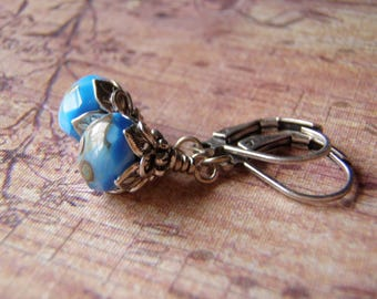 French Blue Earrings  8 x 6 mm Glass Dangle Antique Silver Leverback Ear Wire Picasso Finish Handmade